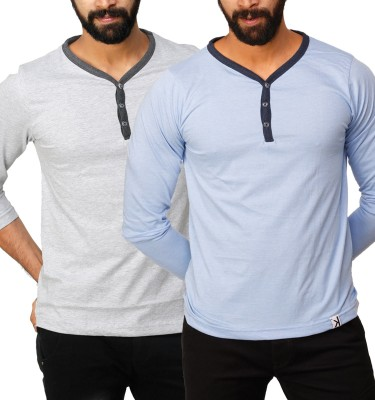 UnKonventional Self Design, Solid Men's Henley Silver, Blue T-Shirt