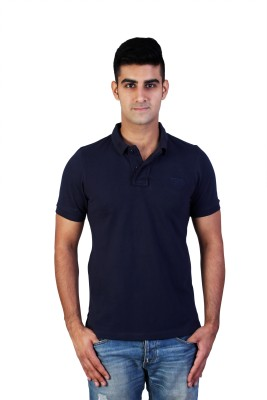 Bridge Solid Men's Polo Neck Blue T-Shirt