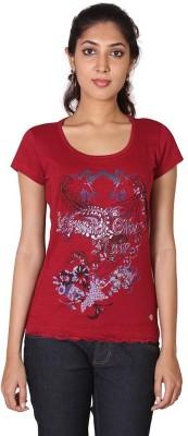 ESPRESSO Printed Women's Round Neck Red T-Shirt