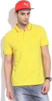Puma Solid Men's Mandarin Collar Yellow T-Shirt