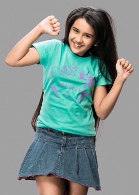 Imagica Printed Girl's Round Neck Green T-Shirt