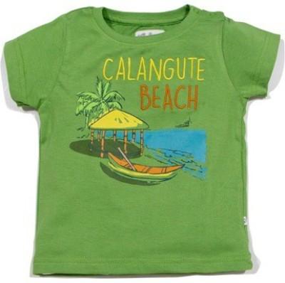 Solittle Graphic Print Boy,s Round Neck Green T-Shirt