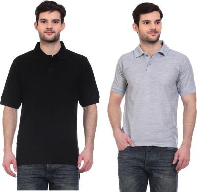 Blue-Tuff Solid Men,s, Boy,s Polo Neck Black, Grey T-Shirt