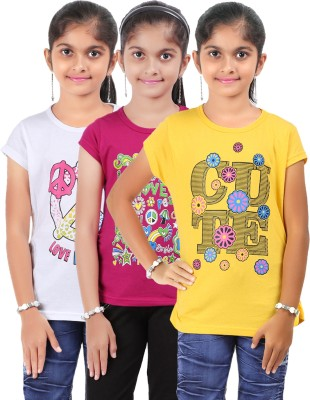 Bes-Tex Printed Baby Girl's Round Neck Multicolor T-Shirt