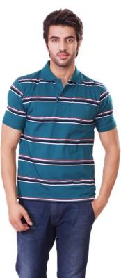 D-Green Striped Men's Polo Dark Green, Dark Blue T-Shirt