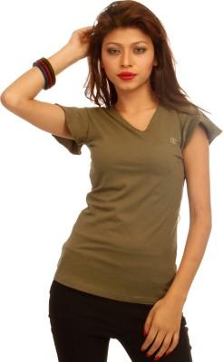Adam N Eve Solid Women's V-neck Dark Green T-Shirt