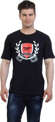 Monkie Printed Men's Round Neck Black T-Shirt