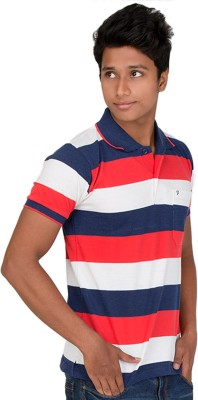 Furious Active Striped Men's Flap Collar Neck Dark Blue, Orange, White T-Shirt