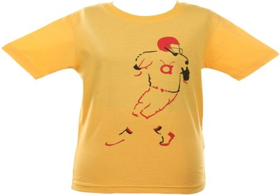 Anthill Graphic Print Boy's Round Neck Yellow T-Shirt