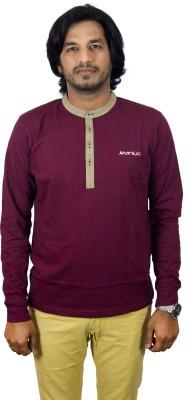 JEANLUC Self Design Men's Round Neck Maroon T-Shirt