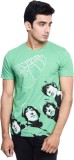 Beatles Printed Men's Round Neck Green T...