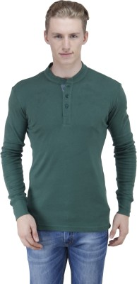 Lotto Solid Men's Henley Dark Green T-Shirt
