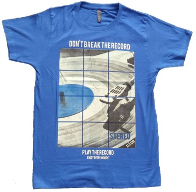 niue Graphic Print Men's Round Neck Blue T-Shirt