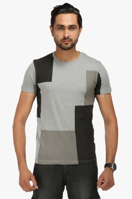 Wear Your Mind Geometric Print Men's Round Neck Grey T-Shirt