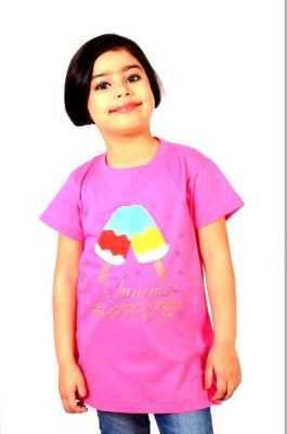 tiny tots Printed, Applique, Embellished Baby Girl's Round Neck Pink T-Shirt