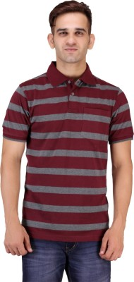Mudo Striped Men's Polo Neck Maroon T-Shirt