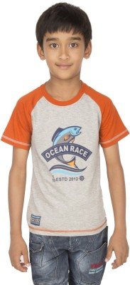 Ocean Race Printed Boy's Round Neck Grey, Orange T-Shirt