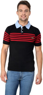 Zeco Woven Men's Polo Neck Red T-Shirt