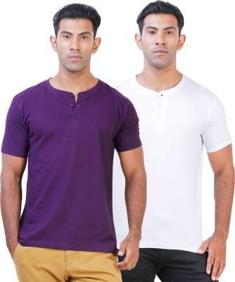Click Hit Solid Men's Henley Purple, White T-Shirt