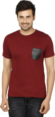 Essentiele Applique Men's Round Neck Maroon T-Shirt