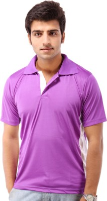 Being Champion Solid Men's Flap Collar Neck Purple T-Shirt