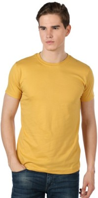Shootr Solid Men's Round Neck Yellow T-Shirt