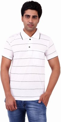 Xensa Striped Men's Polo Neck White T-Shirt