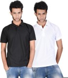 Whistle Solid Men's Polo Neck Black, Whi...
