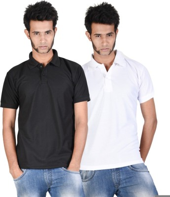 Whistle Solid Men's Polo Neck Black, White T-Shirt