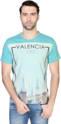 Van Heusen Printed Men's Round Neck Blue T-Shirt