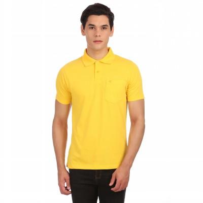 Neva Solid Men's Polo Neck Yellow T-Shirt
