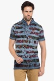 Copperstone Printed Men's Henley Blue T-...