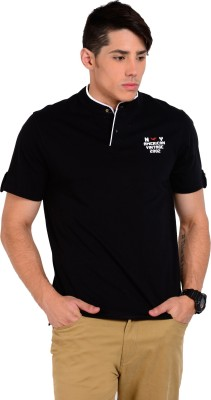 Sting Solid Men's Henley Black T-Shirt