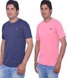 LEAF Solid Men's Round Neck Blue, Pink T...