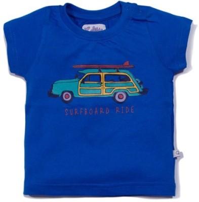 Solittle Graphic Print Boy,s Round Neck Dark Blue T-Shirt