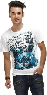 Chlorophile Printed Men's Round Neck White T-Shirt