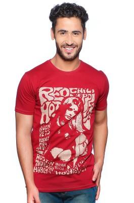 Nucode Graphic Print Men's Round Neck Maroon T-Shirt