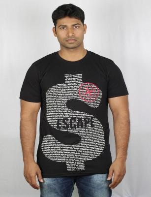 Mr Sha Printed Men's Round Neck Black T-Shirt