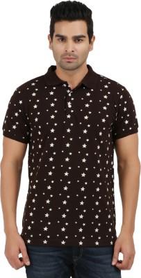 AG Printed Men's Polo Neck Black, Beige T-Shirt