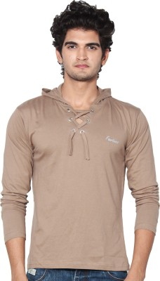 Amp Colors Solid Men's Hooded Beige T-Shirt