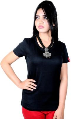 La Solid Women's Round Neck Black T-Shirt