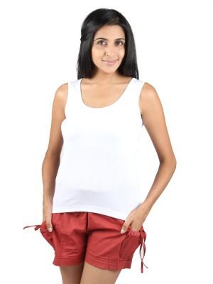 Splash Solid Women's Round Neck White T-Shirt