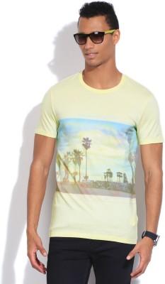 Jeanswest Australia Printed Men's Round Neck Yellow T-Shirt