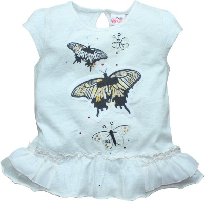 FS Mini Klub Printed Girl's Round Neck Grey T-Shirt