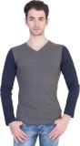 14Forty Solid Men's V-neck Grey T-Shirt
