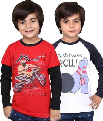 Childrens Club Printed Boy,s Round Neck Red, White T-Shirt