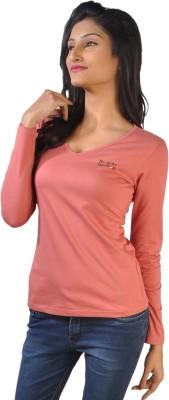 No Code Solid Women's V-neck Purple T-Shirt