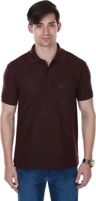 Cotton County Premium Solid Men's Flap Collar Neck Brown T-Shirt
