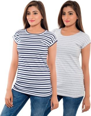 Feminine Striped Women's Round Neck Blue, Grey T-Shirt