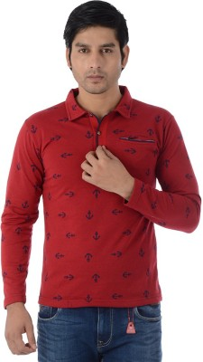 Lawman Graphic Print Men's Polo Neck Red T-Shirt